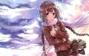 Картинка девушка, арт, метель, kazuharu kina, снег.