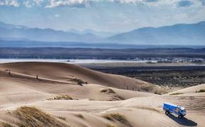 Картинка Вид сверху, 506, Горы, Дюна, Грузовик, Песок, Kamaz, Синий, Rally, КАМАЗ, Dakar, Red Bull