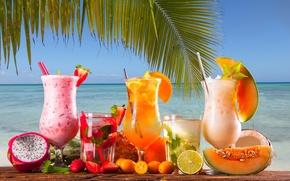Картинка море, ягоды, пальма, коктейль, трубочка, цитрусы, мята