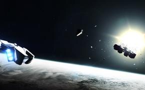 Картинка fan art, interstellar, корабль, планета, christopher nolan, фантастика, космос, нолан