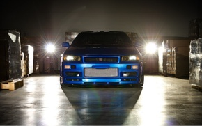 Картинка машина, Nissan, skyline, ниссан, gt-r, r34, форсаж 4, fast and furious, blue car