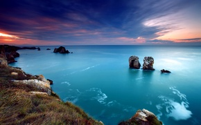Обои море, небо, скалы, закат