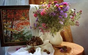 Картинка осень, букет, картина, виноград, натюрморт, астры, цинния