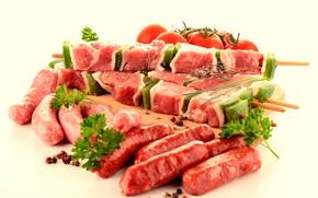 Картинка зелень, мясо, томаты, купаты
