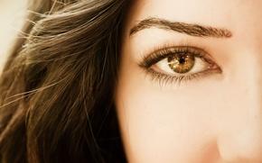 Картинка взгляд, девушка, лицо, глаз, фон, обои, волосы, макияж, брюнетка, wallpaper, разное, широкоформатные, background, бровь, полноэкранные, ...