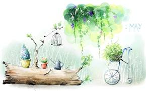 Картинка зелень, природа, рисунок, растения, акварель, май