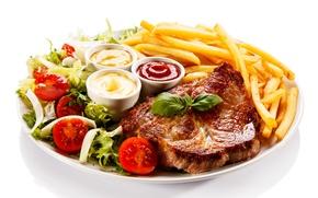 Картинка мясо, помидоры, соус, кетчуп, картофель, meat, стейк, tomato, sauce, steak