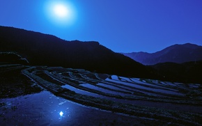 Обои луна, рисовое поле, Japan, ночь, Moon, япония