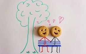 Картинка дерево, рисунок, сердечки, Печенье