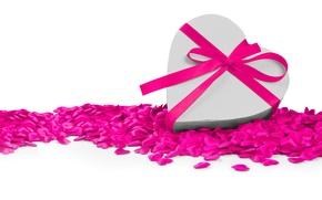Обои сердце, лента, сердечки, love, бант, heart, romantic, Valentine's Day
