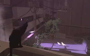 Картинка крыша, свет, провода, тень, растения, столб, ограда, засада, голуби, черный кот, art, Snatti89