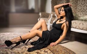 Обои Marina Shimkovitz, legs, heels, black dress, model, brunette