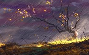 Картинка Природа, Рисунок, Осень, Дождь, Сергей Свистунов, Sergey Svistunov