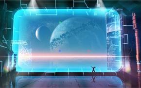 Картинка космос, планета, атмосфера, экран, притяжение, virtual universe editor