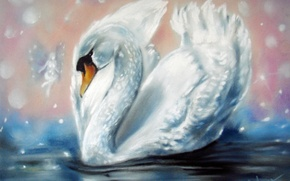 Картинка белый, вода, крылья, фея, лебедь, живопись