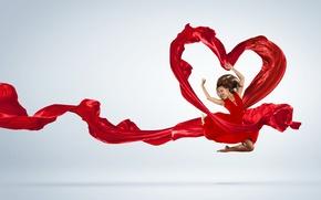 Картинка сердце, Девушка, танец, платье, ткань