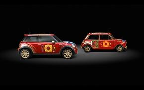 Картинка свет, рисунки, черный фон, Auto, Red Mini