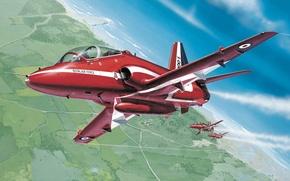 Картинка Red Arrows, Красные Стрелы, пилотажная группа Королевских ВВС Великобритании, royal air force, airshow, BAE Hawk