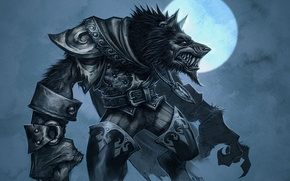 Картинка луна, волк, доспехи, World of Warcraft, Cataclysm, оборотень, wow, воргены