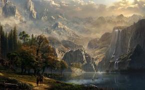 Картинка горы, река, замок, всадница, водопады