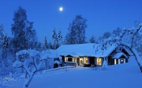 Обои лом, Dalarna, свет, снег, зима, деревья, Швеция, Winter, огни, луна, ночь, night, Sweden, лес, Даларна