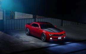 Картинка красный, Chevrolet, Camaro, red, шевроле, мускул кар, muscle car, камаро