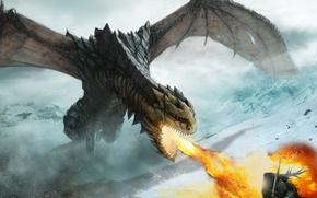 Картинка снег, горы, оружие, огонь, дракон, воин, арт, ярость, нападение, оборона, доспех
