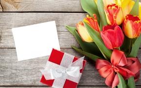 Картинка цветы, подарок, весна, тюльпаны, бант, 8 марта, tulips, gift