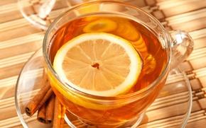 Картинка лимон, чай, чашка, корица, блюдце