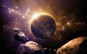 Картинка звезды, планета, вспышка