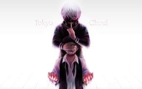 Картинка фон, кровь, маска, слезы, парень, жест, anime, art, красный глаз, токийский гуль, Tokyo Ghoul, Ken …