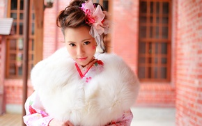 Картинка взгляд, лицо, стиль, мех, украшение, азиатка