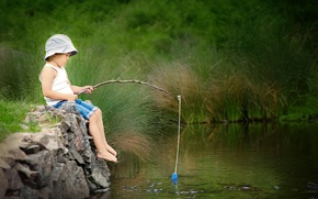 Картинка лето, река, рыбалка, мальчик