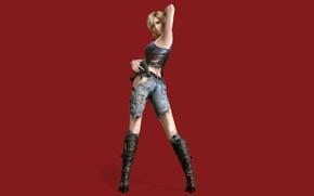 Картинка взгляд, девушка, поза, игра, сапоги, красный фон, Parasite Eve, Aya Brea, The 3rd birthday, джинсы. …