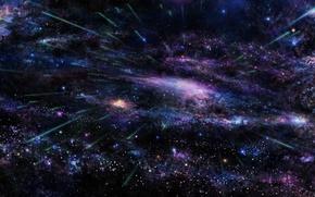 Обои небо, космос, звезды, дерево, сакура, арт, галактика, tsujiki