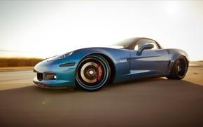 Обои corvette, chevrolet, blue, Z06