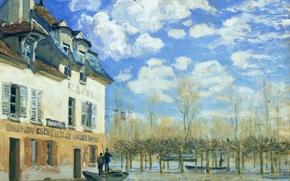 Обои картина, разлив реки, дом, пейзаж, Альфред Сислей, Наводнение в Порт-Марли, весна