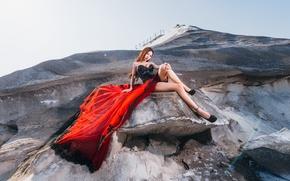 Картинка фон, гора, платье, азиатка