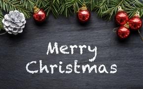 Картинка украшения, ветки, шары, ель, Новый Год, Рождество, хвоя, Christmas, New Year, Xmas, Merry