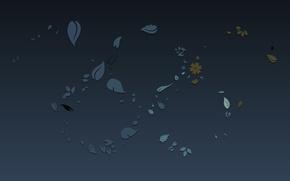 Картинка цветы, синий, фон, узор, текстура, листочки