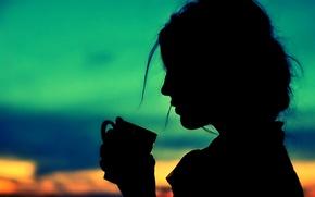 Картинка небо, девушка, волосы, рука, силуэт, ручка, чашка, профиль, собраны