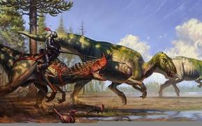Картинка рисунок, динозавры, рыцарь, fantasy knights