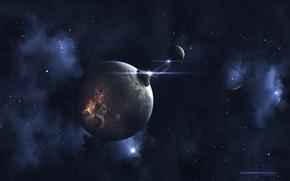 Обои планета, вспышка, the spark