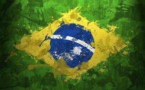 Обои флаги, планеты, бразильский флаг, зелёный, планета земля, бразилия, земной шар, текстура, full hd, текстуры
