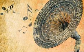 Картинка ретро, ноты, звук, граммофон