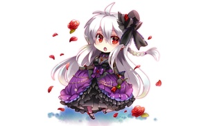 Картинка девушка, аниме, арт, белый фон, vocaloid, yowane haku, caffein