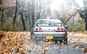 Картинка Солнце, Осень, Машина, Ниссан, Desktop, Japan, Nissan, GT-R, Car, Автомобиль, Beautiful, Sun, Тачка, Skyline, Wallpapers, …
