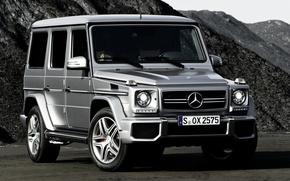 Обои джип, внедорожник, Mercedes-Benz, гелендваген, горы, AMG, G63, передок, мерседес, Gelandewagen