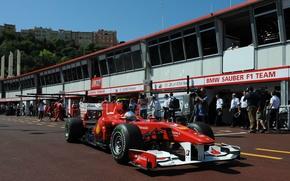 Обои Формула 1, Ferrari, Фелипе Масса, боксы, Monte-Carlo 2010