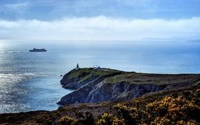 Картинка море, скалы, берег, маяк, домик, лайнер